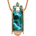 Chrysacolla drusy, zircon, and gold pendant by Pearce Design