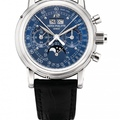 Lot 169_Patek Philippe.very rare platinum perpetual calendar split seconds chronograph with blue tachymetre dial, Ref5004