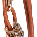 dadaarrigoni_happy frog bracelet in rose gold orange sapphires and orange leather