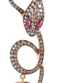 dadaarrigoni_malafemmina earrings in rose gold brown black diamonds and rubies