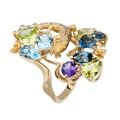DA14100 019925 Gecko maxi ring in yellow gold, olivines, topazes and amethyst