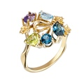 DA14101 019925 Gecko ring in yellow gold, olivine, topazes and amethyst