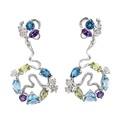 DA14102 029925 Gecko long earrings in white gold, olivines, topazes and amethysts