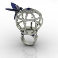 Birdcage ring in white gold, diamonds and cabochons saphires by Barbagallo