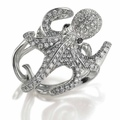 ctopus ring in white gold and diamonds by Scavia